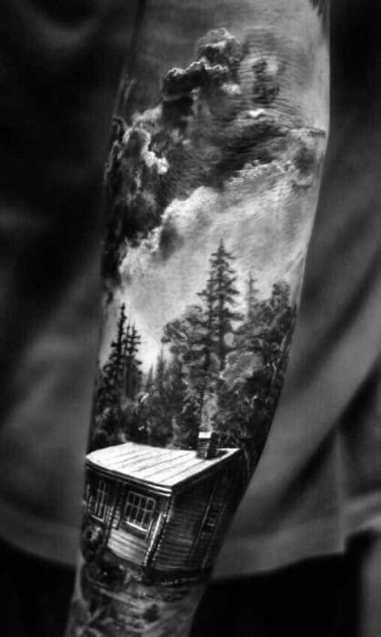 40 Log Cabin Tattoo Designs For Men - Dwelling Ink Ideas
