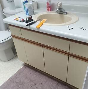 bathroom update how to paint laminate cabinets the With painting laminate bathroom vanity
