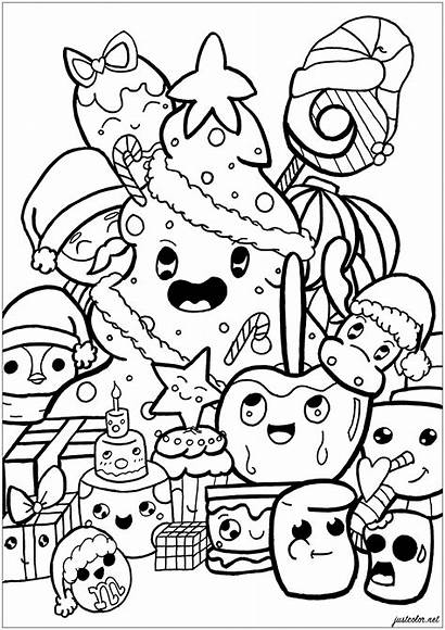 Doodle Coloring Christmas Doodling Pages Adults Adult