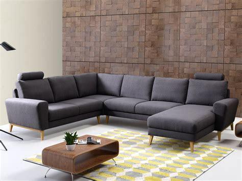 canapé panoramique tissu canapé d 39 angle panoramique en tissu bleu ou gris visby