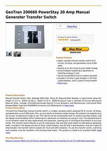 Gentran 200660 Powerstay 20 Amp Manual Generator Transfer