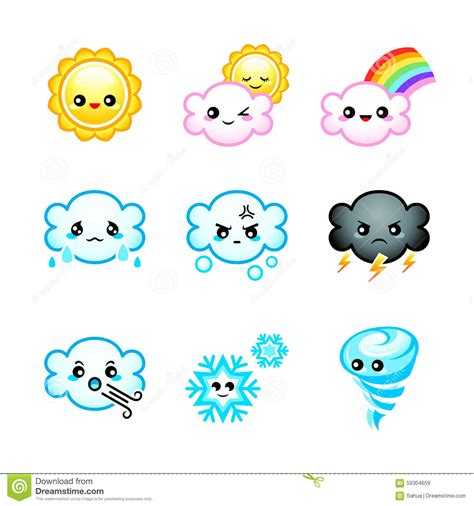 cute weather icons stock vector image