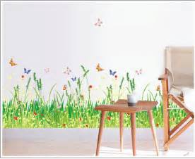 nature grass wall decals fence stickers for stair vinyl
