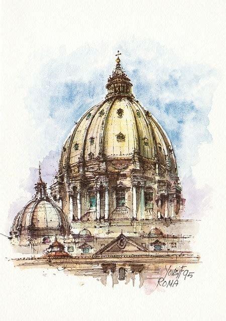 visita cupola san pietro roma 06q roma la cupola di san pietro italian watercolor