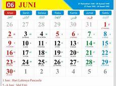 Kalender Bulan Juni 2019 dan Hari Pasaran Jawa Kalender
