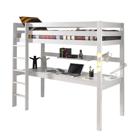 lit mezzanine en pin massif 90x200cm avec bureau intégré