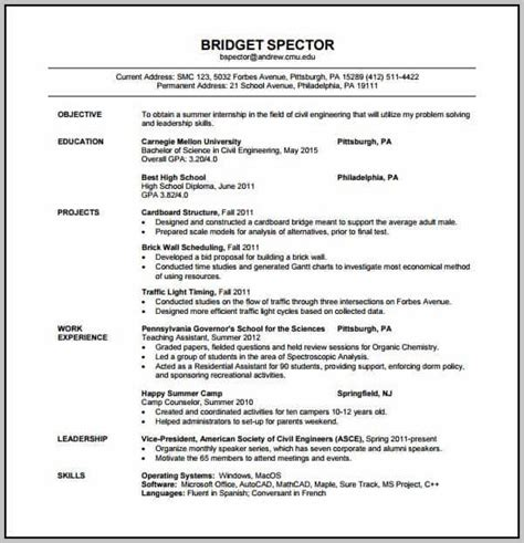 resume format for experienced civil engineers pdf free