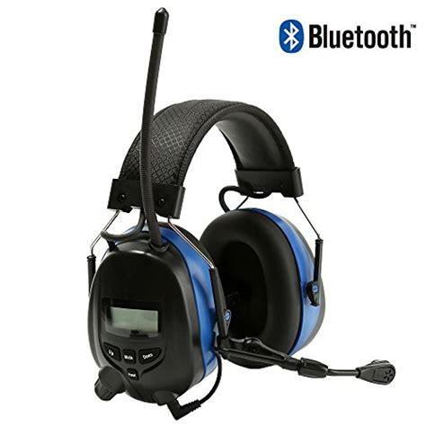 bluetooth ear protection hearing headphones radio fm mowing muffs nrr earmuffs wireless noise 25db safety woodworking working microphone clip protear