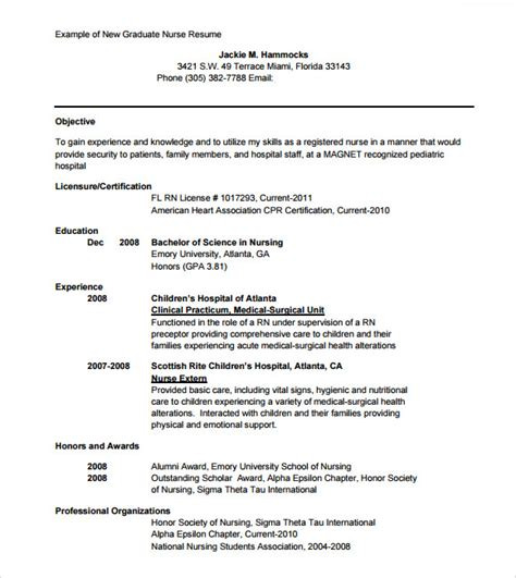 New Graduate Nursing Resume by 9 Sle Nursing Resumes Sle Templates