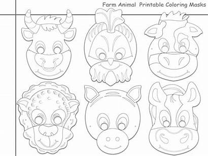 Printable Animals Masks Farm Coloring Unique Animal