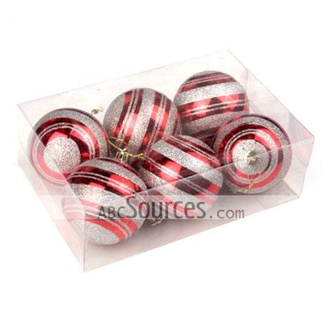 wholesale red and grey stripes decorated shatterproof 70mm