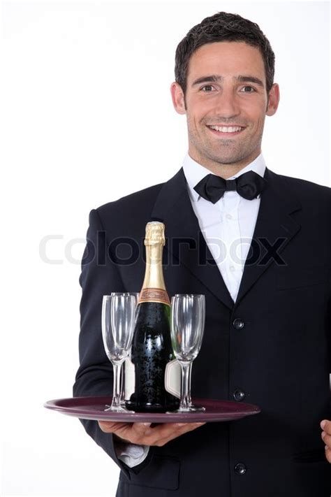 smart waiter holding tray stock photo colourbox