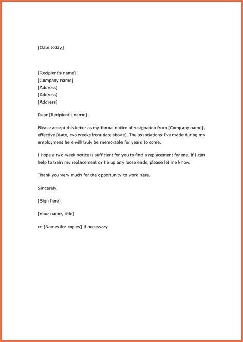 weeks notice resignation letter samples