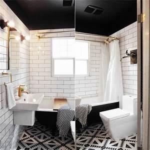 awesome plafond salle de bain noir et blanc gallery home With salle de bain noire et blanche