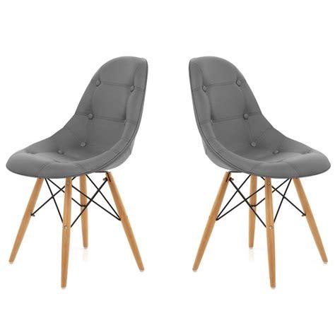 chaise capitonnee chaise capitonnee gris lot de 2 chaise design topkoo