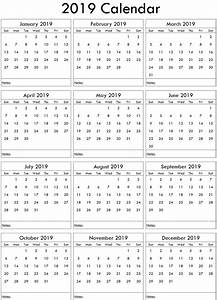 Monthly Calendar Template Microsoft Word 2019 Excel Yearly Calendar Uk Free Printable 2019