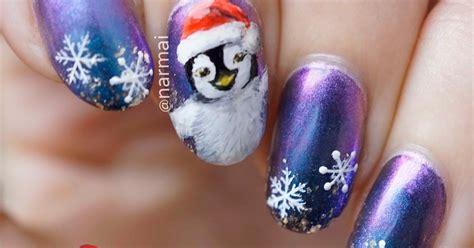 Happy Christmas Penguin Nail Art