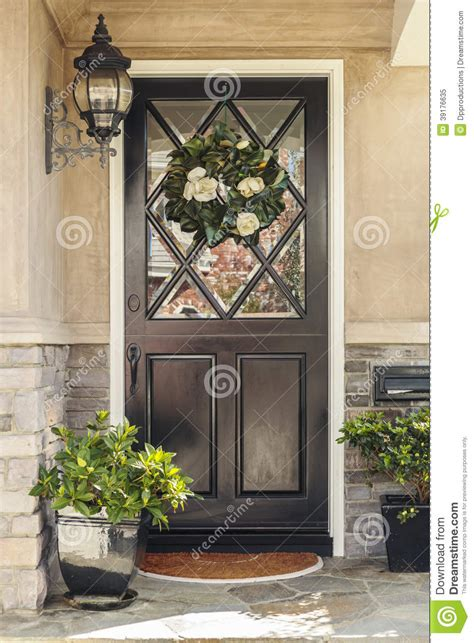 black front door  home  flower wreath stock image image  house beautiful