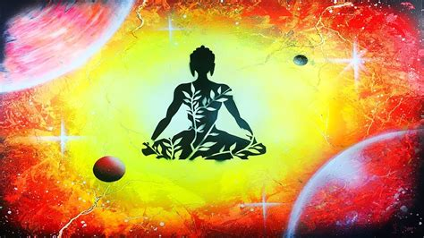 Spray Paint Art Yoga And Nebula Painting In Yellow, Red