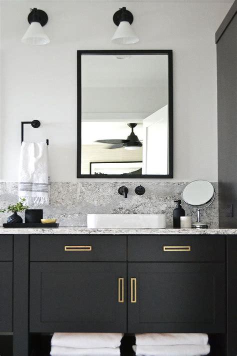 Modern Bathroom Hardware by Modern Bathroom With Black Vanity And Brass Hardware