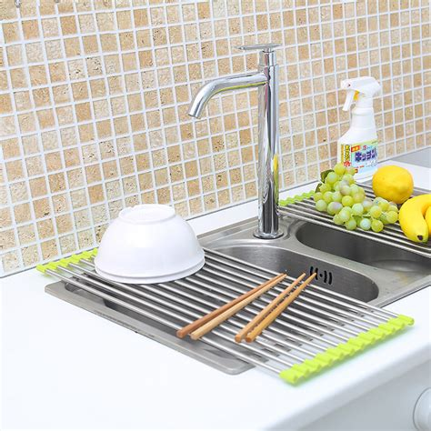 new over the sink roll up dish drying rack drainer