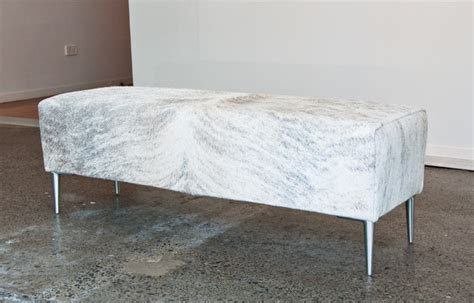 Cowhide Bench Ottoman by Light Grey Cowhide Bench Ottoman For End Of Bed