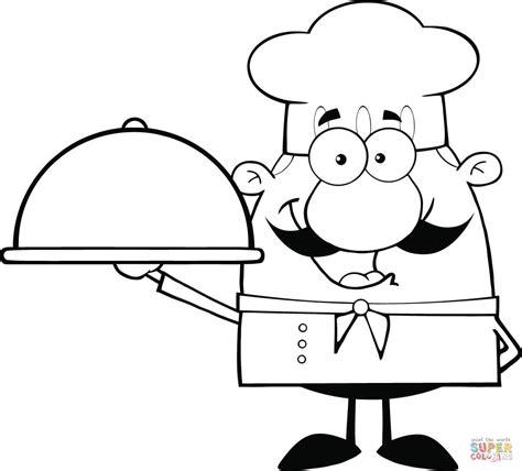 Kleurplaat Kom Soep by Karikatuur Chef Kok Met Een Schotel In Zijn