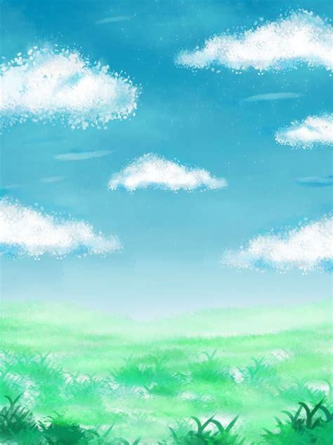 Full Blue Sky White Jade Grass Hand Drawn Clouds Dreamy