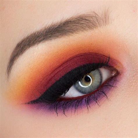red  orange sunset smokey eyeshadow    summervibes beauty musely tip sunset
