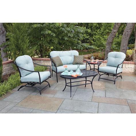 woodard patio furniture woodard ridgeview 5 patio seating set with blue
