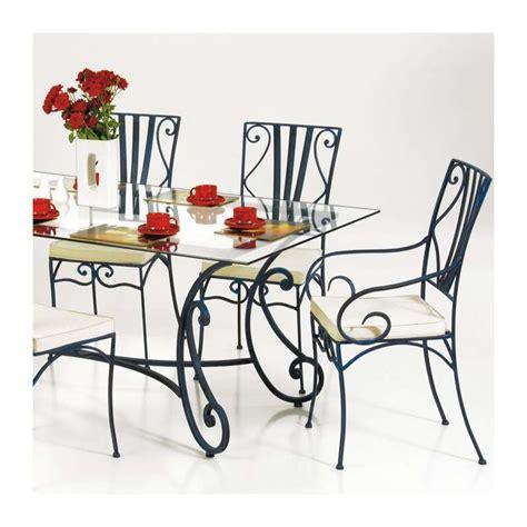 table en fer forg 233 avec plateau en verre marco 4 pieds