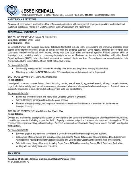 detective resume exles exle detective resume free sle