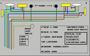 Headlight And Tail Light Wiring Schematic    Diagram - Typical 1973