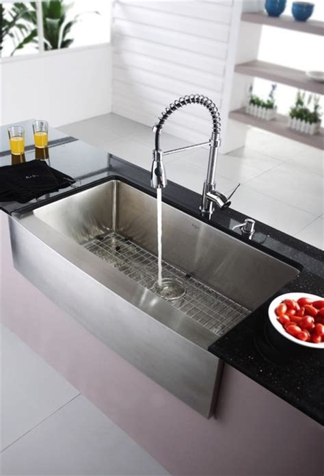 Kraus Sinks Kitchen Sink by Kraus Khf200 36 Kpf1612 Ksd30ch Farmhouse Sink With Faucet