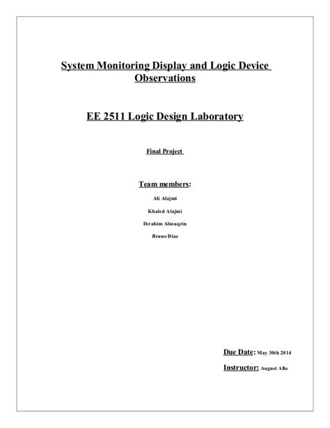 logic project report with coversheet