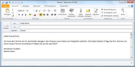 einen  oder eine  mail schreiben deutsch jeden tag