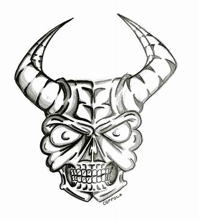 Skull Fire Skulls Drawings Drawing Horns Clipart