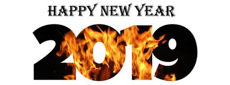 2019 Fire Burning Happy New Year Facebook Cover Photo
