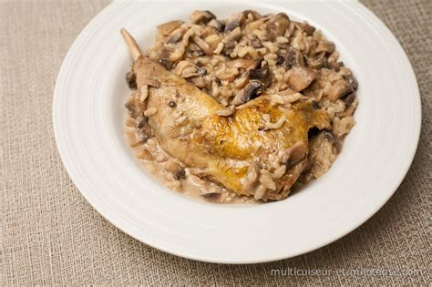 cuisiner le poulet en sauce cuisses de pintade aux chignons et riz sauce au porto