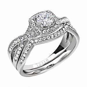 Women39s wedding band ring set stainless steel round cut for Cz wedding rings for women