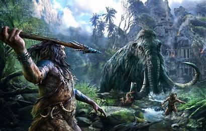 Prehistoric Ancient Times Jungle Ruins Mammoth Hunting