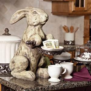 Cast Stone Rabbit - Cream - Traditional - Home Decor