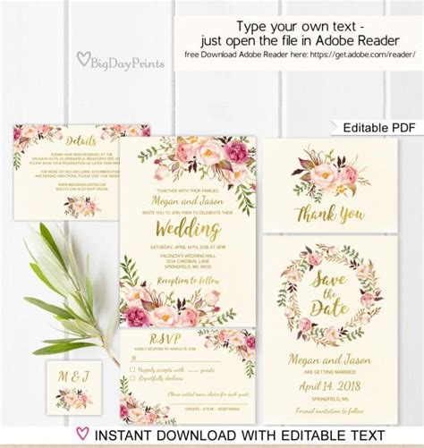 Floral Wedding Invitation Template Ivory Boho Chic