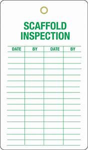 Scaffolding inspection tags self laminated scaffold tags for Scaffold inspection checklist free template