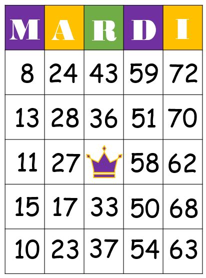 mardi gras bingo game
