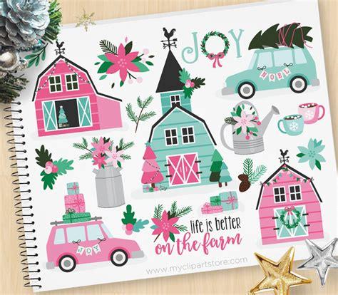 christmas farmhouse pink barn farm house rustic