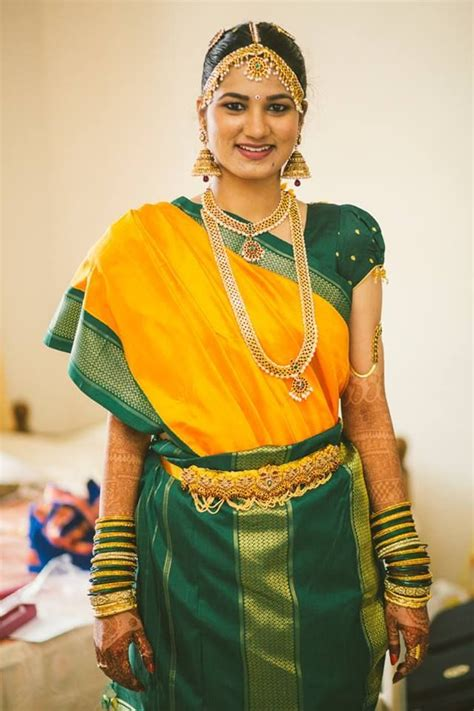 south indian saree draping styles tamil iyer in yellow and green silk with madisar