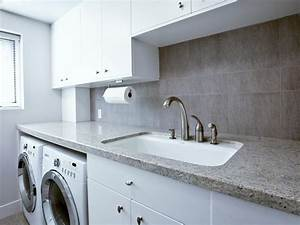 Granite countertops a utility sink and simple white for Laundry room sink and countertop