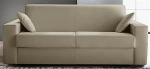 canape convertible revetement cuir beige konia modele 1 With tapis moderne avec canapé convertible cuir couchage quotidien