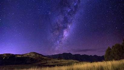 Starry Sky Milky Way Night Field Horizon
